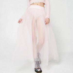 NWT Dollskill Fancy Pants Tulle Skirt Beaded Pearl